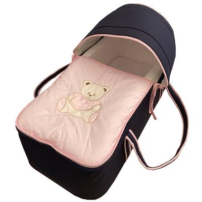 Couffin pour bébé bleu nuit et rose - Motif Nounours