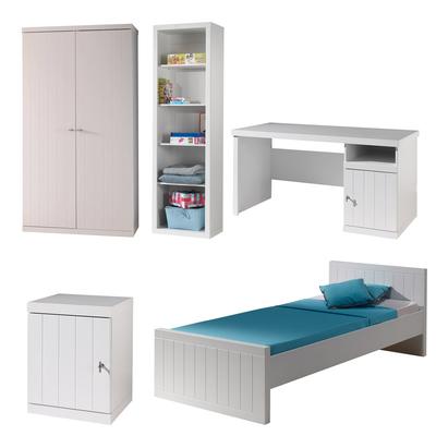 Lit 90x200 - Chevet 1 porte - Armoire 2 portes - Bureau et Bibliothèque Vipack Robin - Blanc