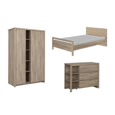 Chambre complète lit junior 120x190 - commode 3 tiroirs - armoire 2 portes Gami Ethan - Bois