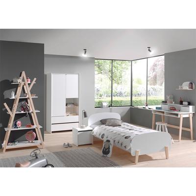 Lit 90x200 - Chevet 1 porte - Armoire 2 portes - Bureau et Bibliothèque Vipack Kiddy - Blanc