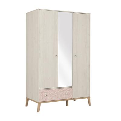 Armoire 3 portes 1 tiroir Gami Alika - Châtaignier Blanchi