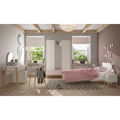 Lit 90x190 - chevet - armoire 3 portes - bureau Gami Alika - Châtaignier blanchi