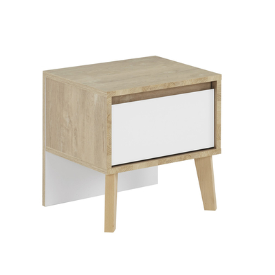 Chevet 1 tiroir blanc Gami Larvik - Chêne blond