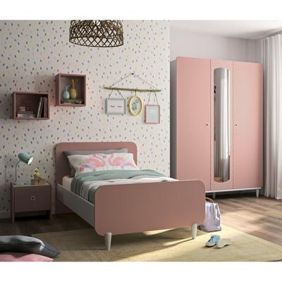 Lit 90x190 - chevet - armoire 3 portes Gami April - Rose