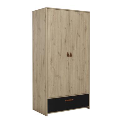 Armoire 2 portes et 1 tiroir Gami Arthus - Chêne et noir