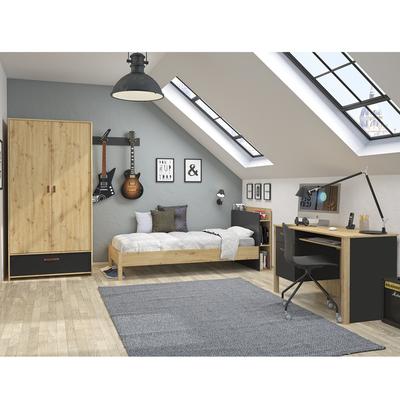 Lit 90x190 - bureau - armoire 2 portes Gami Arthus - Chêne et noir