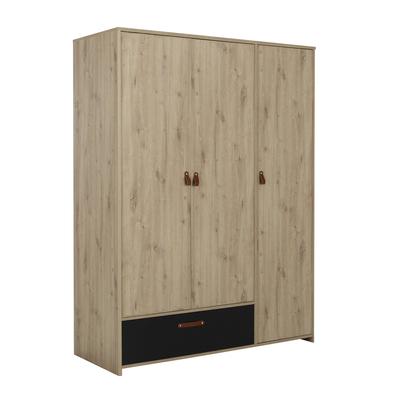 Armoire 3 portes et 1 tiroir Gami Arthus - Chêne et noir