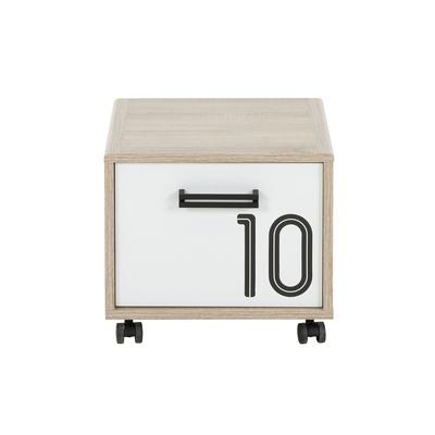 Chevet 1 porte sur roulettes Gami Kyllian - Chêne et blanc