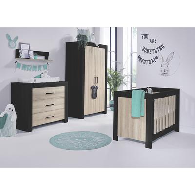 Chambre complète lit bébé 60x120 - commode 3 tiroirs - armoire 2 portes Twf Brentwood - Noir et bois