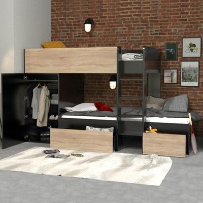 Lit superposé 90x190 - armoire - tiroirs - Weber Industries Twin - Noir et bois