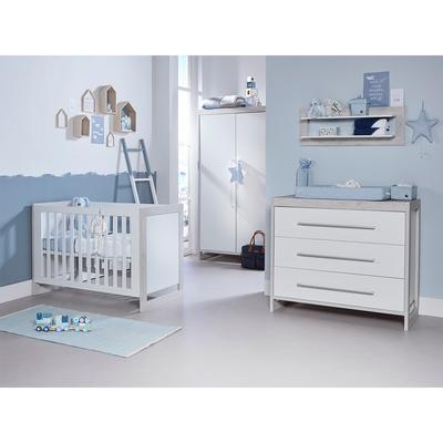Chambre complète lit bébé 60x120 - commode 3 tiroirs - armoire 2 portes Twf Frame - Blanc et bois