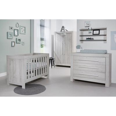 Chambre complète lit bébé 60x120 - commode 3 tiroirs - armoire 2 portes Twf Houston - Gris clair