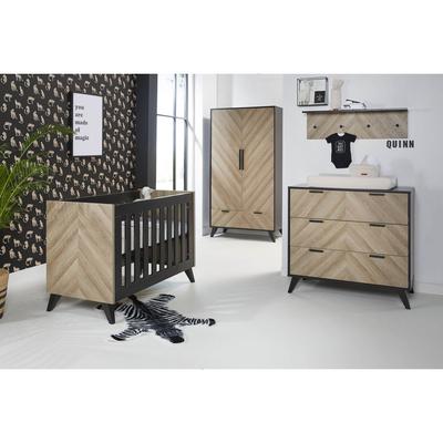 Chambre complète lit bébé 60x120 - commode 3 tiroirs - armoire 2 portes Twf Lancaster - Noir et bois
