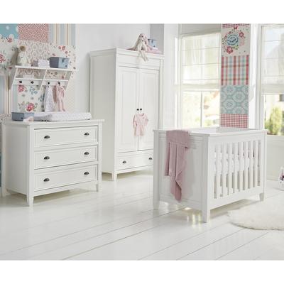 Chambre complète lit bébé 60x120 - commode 3 tiroirs - armoire 2 portes 1 tiroir Twf Marbella - Blanc