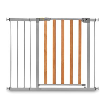 Barrière de sécurité Hauck Woodlock 2 + extension 21cm - Bois et gris