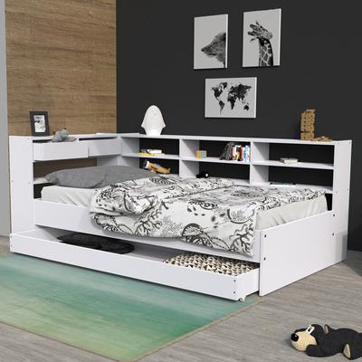 Lit 90x190 - étagères - tiroir - sommier inclus Roller - Blanc
