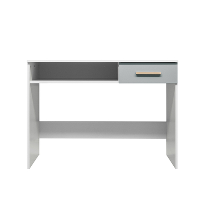 Bureau 1 niche et 1 tiroir Bopita Emma - Blanc et gris