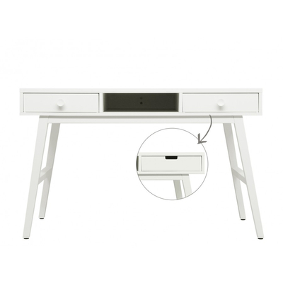 Bureau 3 niches 2 tiroirs Bopita Retro - Blanc