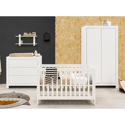 Chambre complète lit bébé 60x120 - commode 3 tiroirs et armoire 2 portes Bopita Thijn - Blanc