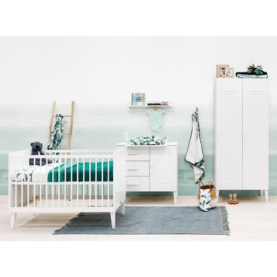 Chambre complète lit bébé 60x120 - commode 3 tiroirs 1 porte et armoire 2 portes Bopita Locker - Blanc