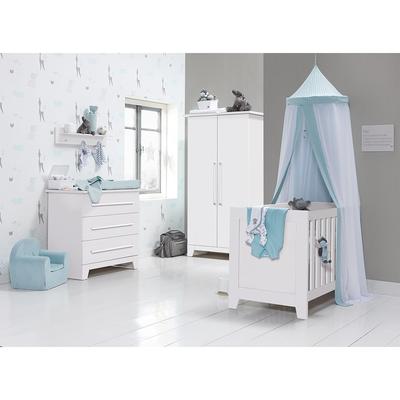 Chambre complète lit bébé 60x120 - commode 3 tiroirs - armoire 2 portes Twf Rio - Blanc