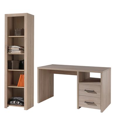 Bureau 2 tiroirs et Bibliothèque Vipack Aline - Bois