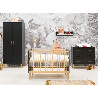 Chambre complète lit bébé 60x120 - commode 3 tiroirs et armoire 2 portes Bopita Floris - Noir mat et bois