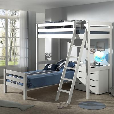 Lit Mezzanine 90x200 - Lit junior 90x200 2 sommiers Inclus et Commode 4 tiroirs Vipack Pino - Blanc