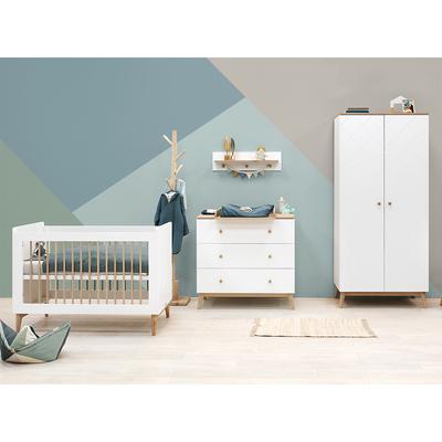 Chambre complète lit bébé 60x120 - commode 3 tiroirs et armoire 2 portes Bopita Paris - Blanc et chêne