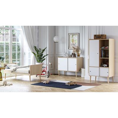Chambre complète lit évolutif 70x140 - commode et armoire 1 porte Vox Retro - Bois Blanc