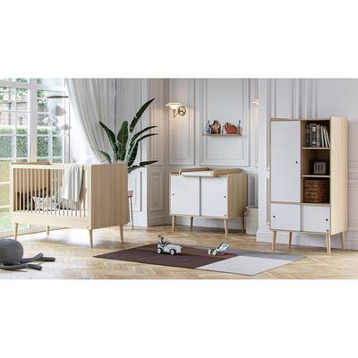 Chambre complète lit bébé 60x120 - commode et armoire 1 porte Vox Retro - Bois Blanc
