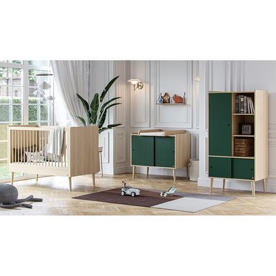 Chambre complète lit bébé 60x120 - commode et armoire 1 porte Vox Retro - Bois Vert