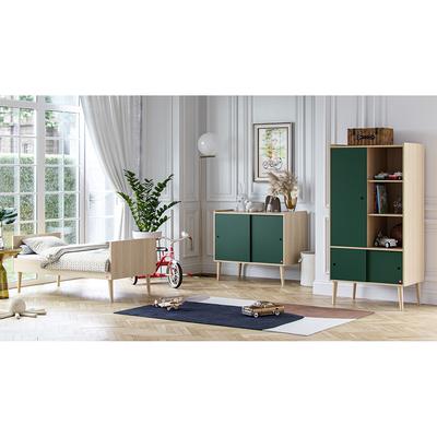 Chambre complète lit évolutif 70x140 - commode et armoire 1 porte Vox Retro - Bois Vert