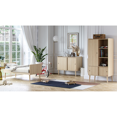 Chambre complète lit évolutif 70x140 - commode et armoire 1 porte Vox Retro - Bois