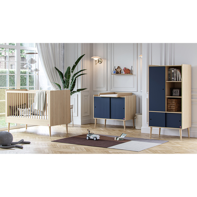 Chambre complète lit bébé 60x120 - commode et armoire 1 porte Vox Retro - Bois Bleu