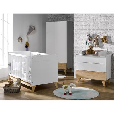Chambre complète lit évolutif 70x140 - commode 3 tiroirs - armoire 2 portes 1 tiroir Amalya - Blanc et bois