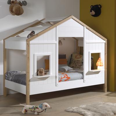 Lit cabane 90x200 sommier inclus 2 fenêtres Vipack Babs - Blanc et bois