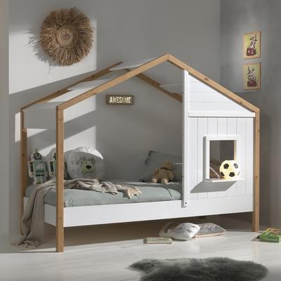 Lit cabane 90x200 sommier inclus 1 fenêtres Vipack Babs - Blanc et bois