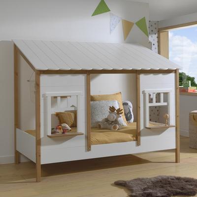 Lit cabane 90x200 sommier inclus Vipack Housebed - Blanc et bois