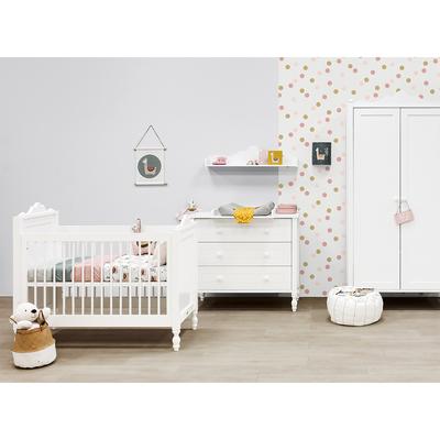 Chambre complète lit bébé 60x120 - commode 3 tiroirs - armoire 2 portes Bopita Belle - Blanc