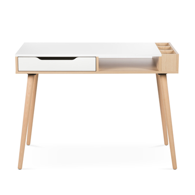 Bureau 1 tiroir 1 niche LittleSky by Klups Sofie - Hêtre et Blanc