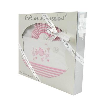 Coffret Parure de draps rose strié - Motif Poisson