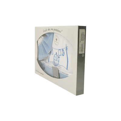 Coffret Parure de draps pour berceau, landau, couffin bleu - Motif Coccinelle