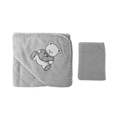 Parure de bain pour bébé gris - Motif Nounours