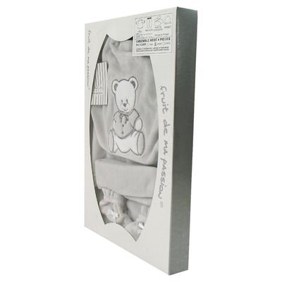 Coffret Ensemble bébé 4 pièces 0 à 3 Mois gris - Motif Nounours