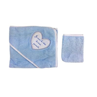 Parure de bain pour bébé bleu - Je suis le rêve de mes parents