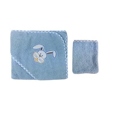 Parure de bain pour bébé bleu - Motif Lapin