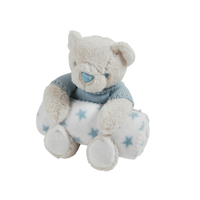 Couverture polaire coral fleece et peluche King Bear Ours - Bleu