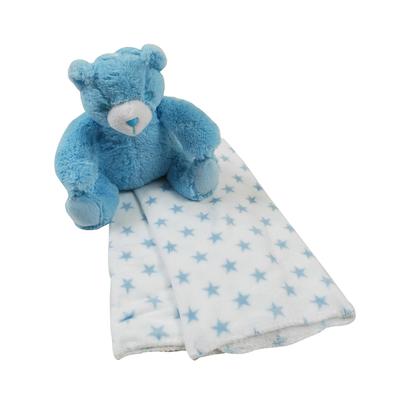 Couverture polaire coral fleece et peluche King Bear Ours Imprimé Etoiles - Bleu