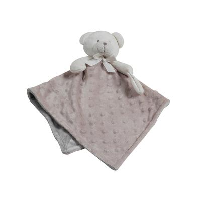 Doudou pour bébé King Bear à pois 3D avec attache sucette Ours - Camel